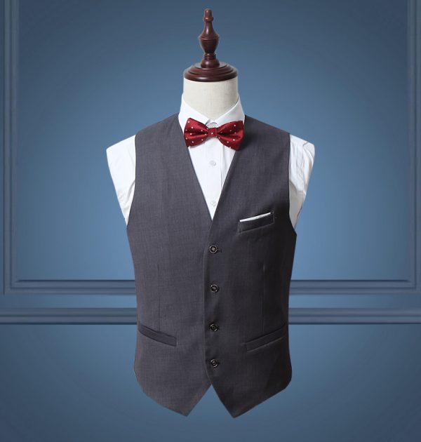 OSCN7 Solid Mens Vest Suit Slim Fit Business Formal Colete Masculino Gray