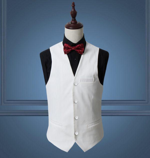 OSCN7 Solid Mens Vest Suit Slim Fit Business Formal Colete Masculino White
