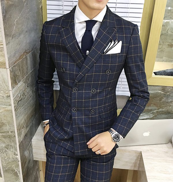 OSCN7 3 Pcs Plaid Suits Double Breasted