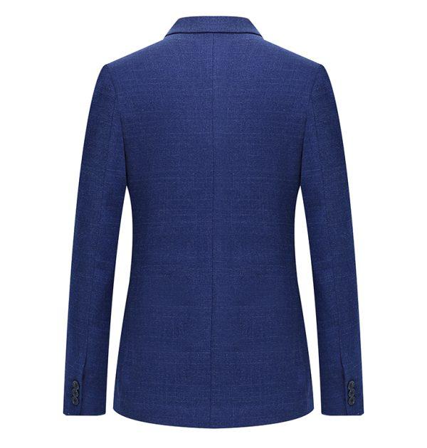 OSCN7 Blue Stripe Slim Fit Blazer Back View