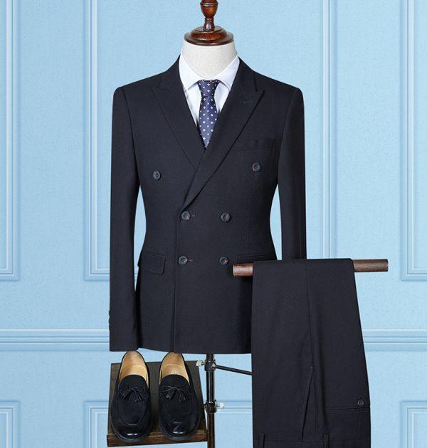 OSCN7 Double Breasted Suit Men 3 Piece Wedding Dress Suits for Men Black