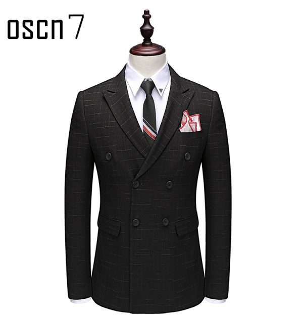 OSCN7 Double Breasted Suit Men Slim Fit Leisure Office Formal Black