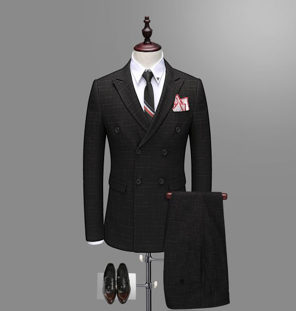 OSCN7 Double Breasted Suit Men Slim Fit Leisure Office Formal Black Suit and Pants