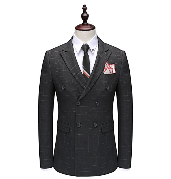 OSCN7 Double Breasted Suit Men Slim Fit Leisure Office Formal Gray