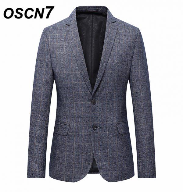 OSCN7 Grey Check Casual Slim Fit Blazer
