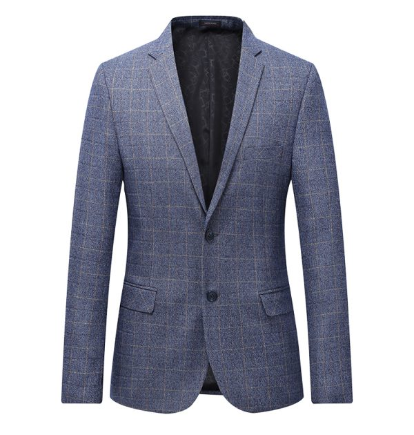 OSCN7 Grey Check Casual Slim Fit Blazer Blue