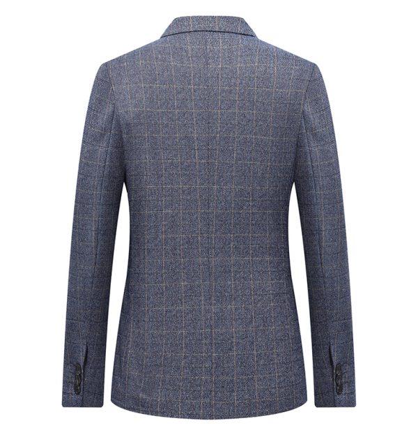 OSCN7 Grey Check Casual Slim Fit Blazer Back