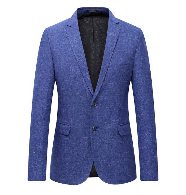 OSCN7 Grey Stripe Casual Blazer Blue