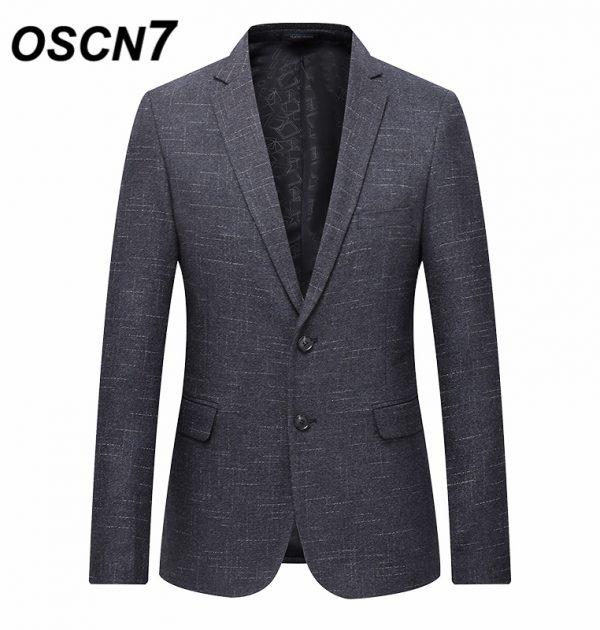 OSCN7 Gray Stripe Casual Blazer