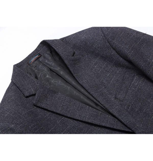 OSCN7 Grey Stripe Casual Blazer Outer