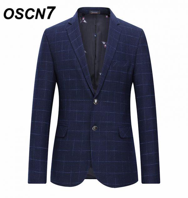 OSCN7 Navy Check Casual Slim Fit Blazer