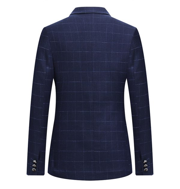 OSCN7 Navy Check Casual Slim Fit Blazer Back View