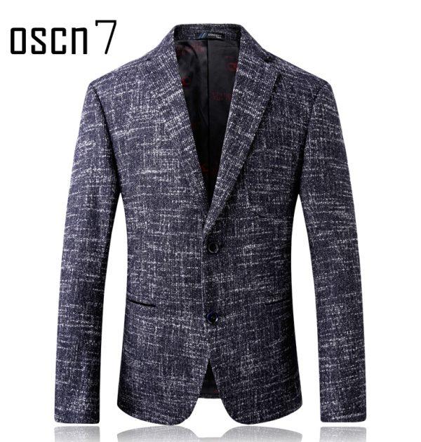 Oscn7 Winter Stripes Mens Wool Blazer